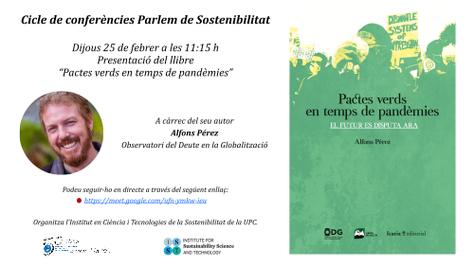 """Alfons Pérez (EEBE) presenta el llibre """"Pactes verds en temps de pandèmies"""""""