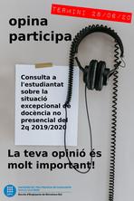 Consulta a l'estudiantat sobre la docència no presencial - Fins 28/06/20