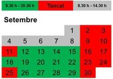 Horaris de la biblioteca de l'EEBE durant el mes de setembre